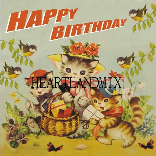 Happy Birthday Kittens Vintage Digital by VintageDigitalShop2