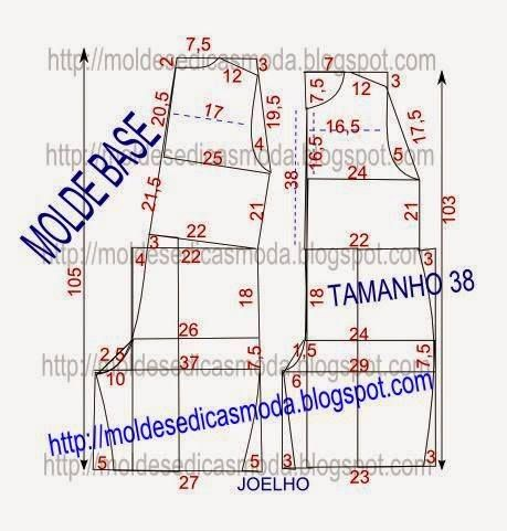 COMBINAISON / MESURES DU MOULE AVEC BASE Taille 38. http://moldesedicasmoda.blogspot.PT/2015/02/Molde-base-de-macacao-tamanho-38.html
