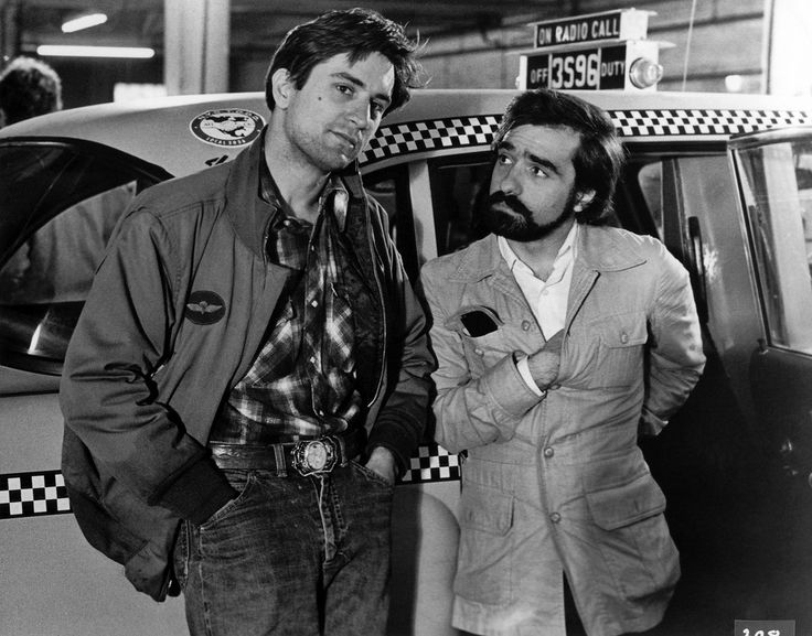 Robert De Niro and Martin Scorsese behind the scenes on Taxi Driver (1976).
