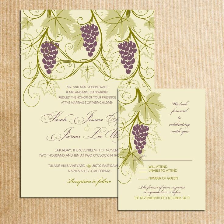 Vineyard Themed Wedding Invitations Stationery By Razzledazzledesign On