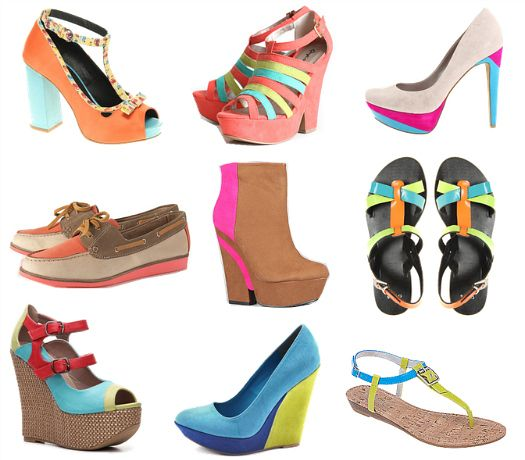 Color blocking shoes.: Colorblock Shoes, Neon Colorblock, Accessories Trends, Neon Accessories, Food Chains, Colors Mixed, Colorblock Trends, Neon Colors, Colors Shoes