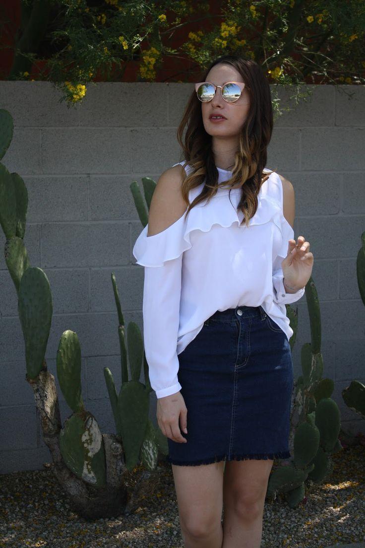 White Cold Shoulder Top| Denim Skirt