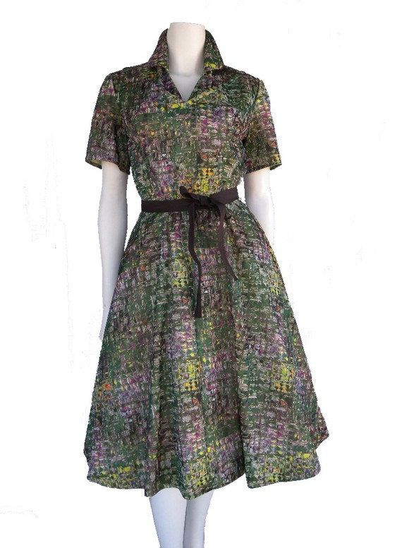 50's Abstract Print Short Sleeve Vintage Day by NewLookVintage, $79.00