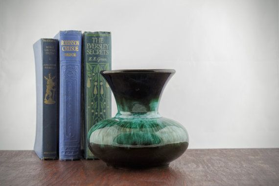 Vintage Green & Black Art Pottery Vase by Blue by LoAndCoVintage