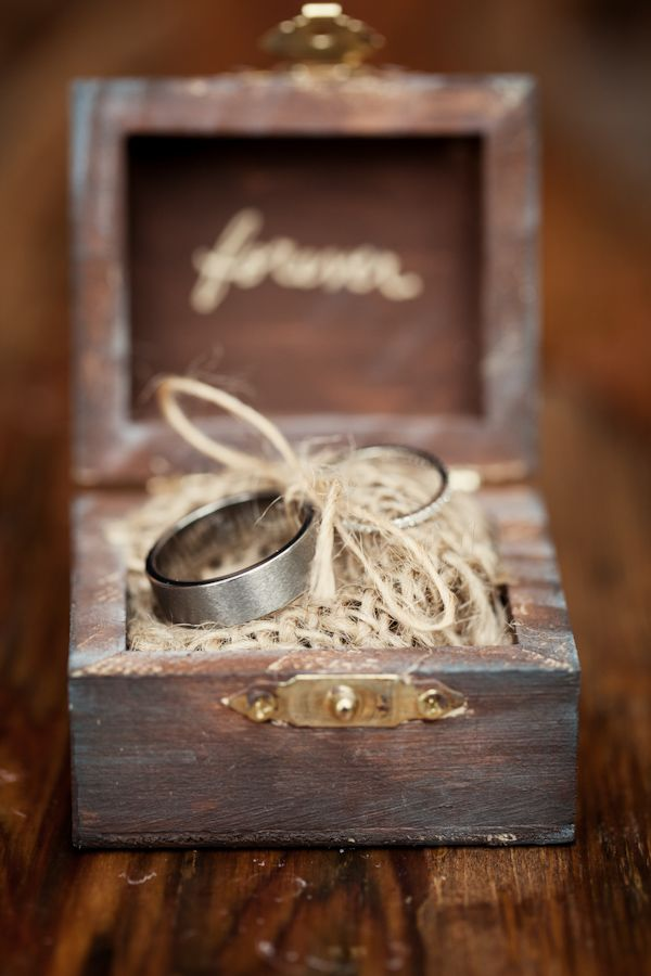 rustic ring box, photo by Whitney Lane Photography | via junebugweddings.com