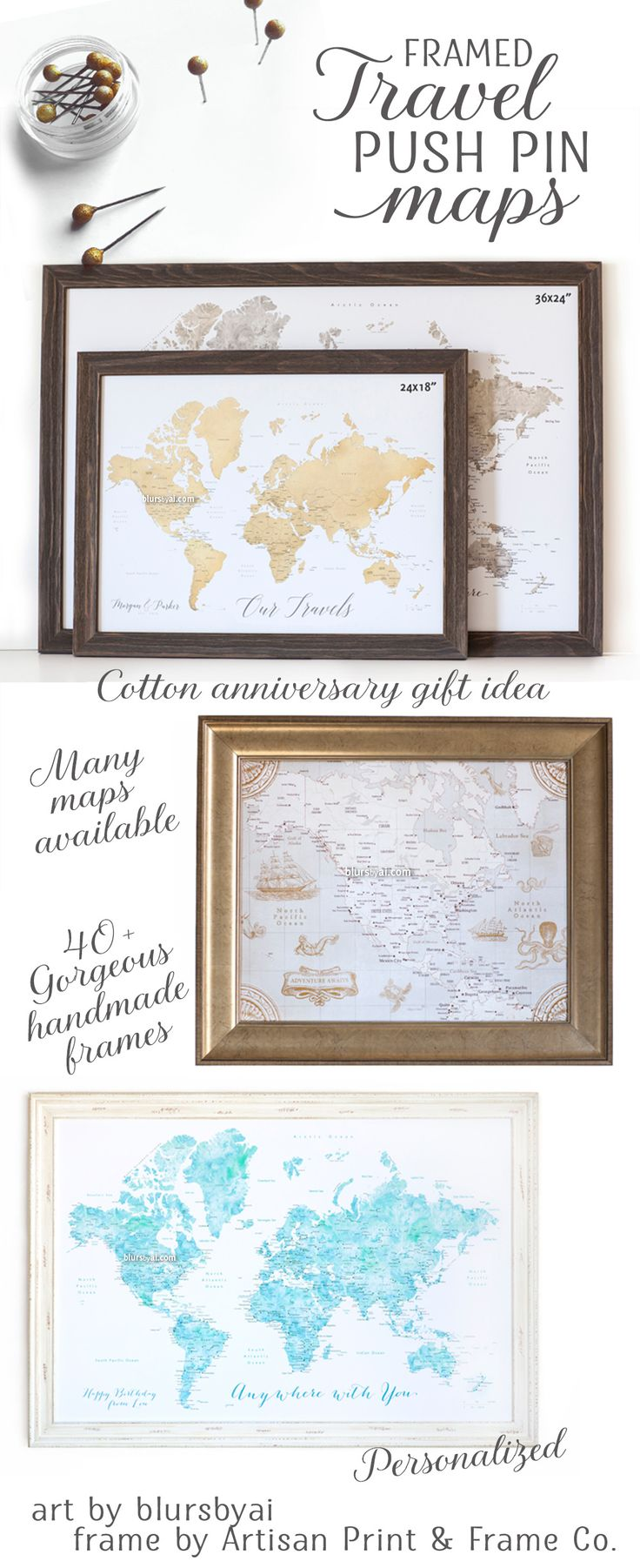 10% off All Personalized Framed Push Pin Maps – blursbyai - Handmade personalized map pinboards for travel couples. World maps with cities labelled