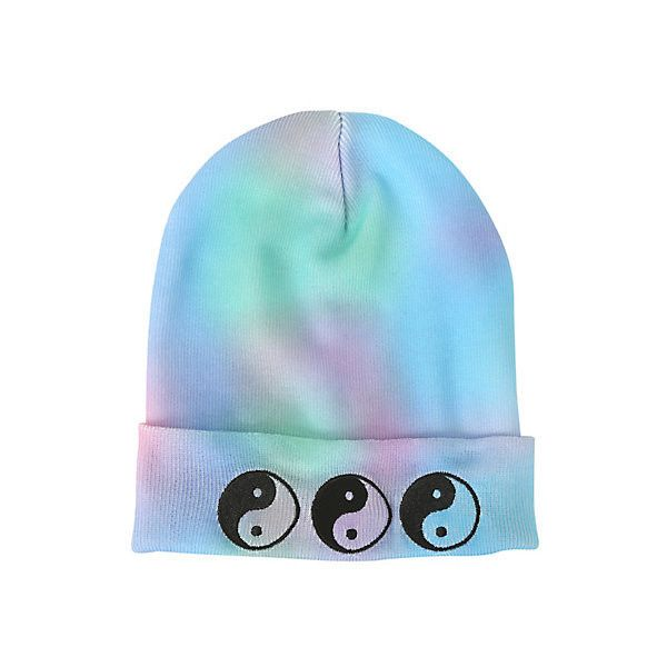 Yin-Yang Pastel Dye Watchman Beanie | Hot Topic ($10) ❤ liked on Polyvore featuring accessories, hats, knit beanie, embroidered hats, embroidered beanie hats, beanie hats and embroidered beanie
