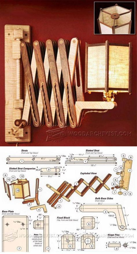 Wooden Accordion Wall Lamp Plan - Woodworking Plans and Projects | WoodArchivist.com