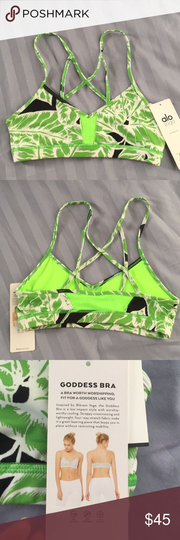 NWT Alo Yoga Goddess Bra in Palm Springs Glowstick NWT Alo Yoga Goddess Bra in Palm Springs Glowstick Size Small. No padding. Purchased from Neiman Marcus. ALO Yoga Intimates & Sleepwear Bras