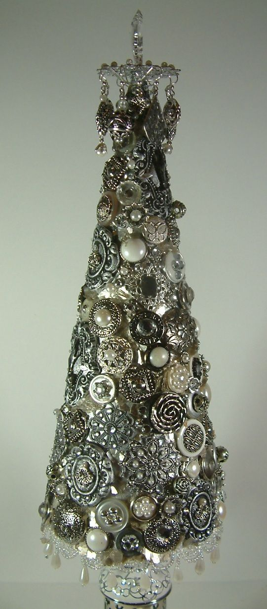 DIY:  How to Make a Jeweled Tree - using a paper cone, clay, buttons and jewelry. This is a great way to use Grandma's costume jewelry and button collection - via Artfully Musing - Jeweled Christmas Trees Tutorial...three different styles