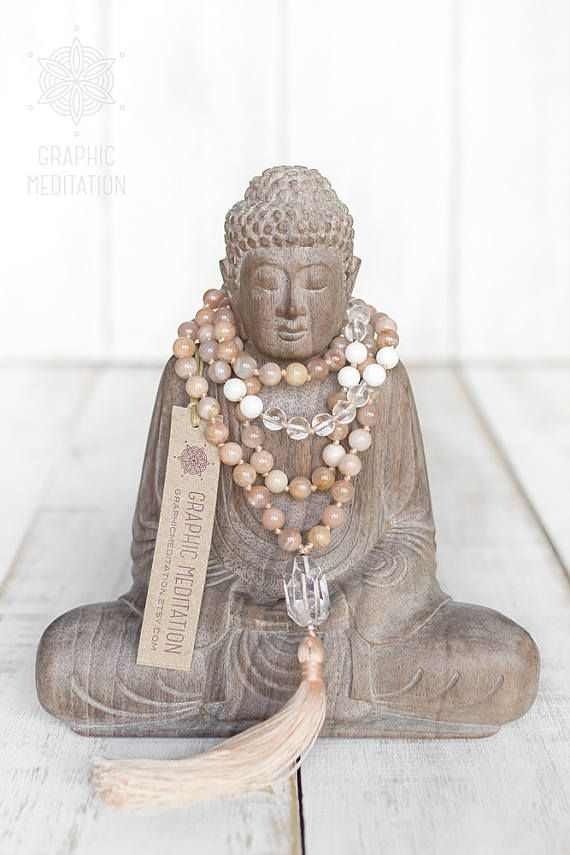 Sunstone necklace, Shell & Crystal mala beads 108, Yoga mala necklace, Healing crystals and stones Success sun stone mala Sunstone jewelry