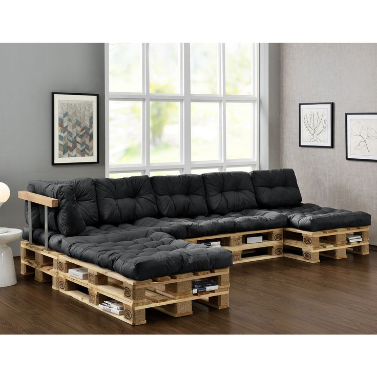 euro paletten sofa auflage 4x sitz 6x r ckenkissen dunkelgrau kissen hausboot. Black Bedroom Furniture Sets. Home Design Ideas