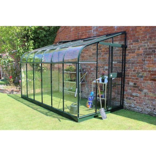 Serre adossée Silverline 7.5 m² verre trempé - vert + embase - Halls - Plantes et Jardins