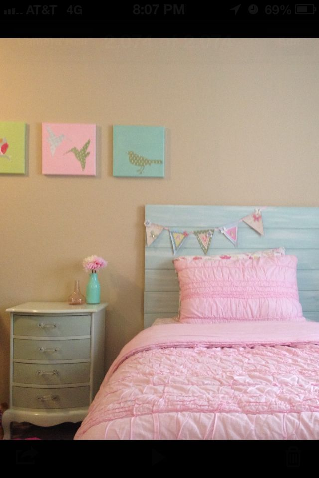 My Diy Girls Room Headboard Artwork Nightstand And Banner Girls Room Projects Girls Headboard Twin Headboard Diy For Girls