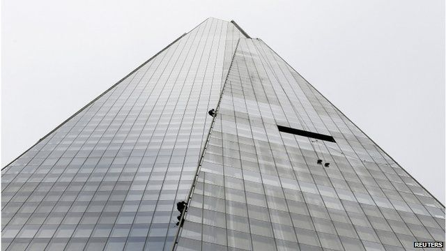 BBC News - Greenpeace protesters climbing up The Shard in London - today 11 July 2013.  The six female protesters are scaling the #Shard in central #London because it overlooks three offices belonging to #Shell.  The demonstrators are live-streaming the climb from helmet cameras, with birds-eye views of their ascent being broadcast.  #Greenpeace wants the area around the #North_Pole to be made a global #sanctuary, off limits to #industrialisation.