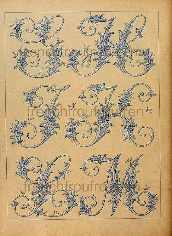 completa antiguo francés victoriano alfabeto por FrenchFrouFrou                                                                                                                                                                                 Más