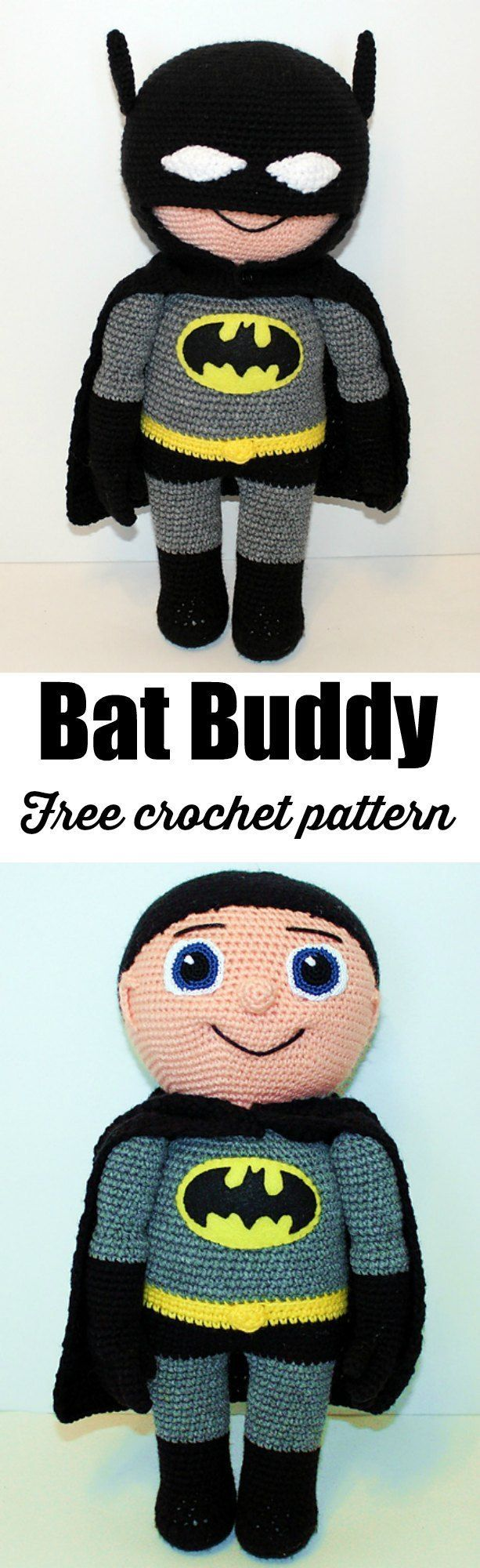 Free Bat Buddy crochet pattern, amigurumi doll.