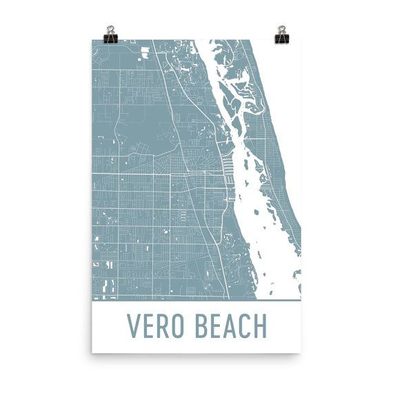 Vero Beach Map Art Print, Vero Beach FL Art Poster, Vero Beach Wall Art, Map of Vero Beach, Vero Beach Print, Gift, Modern, Vero Beach Art