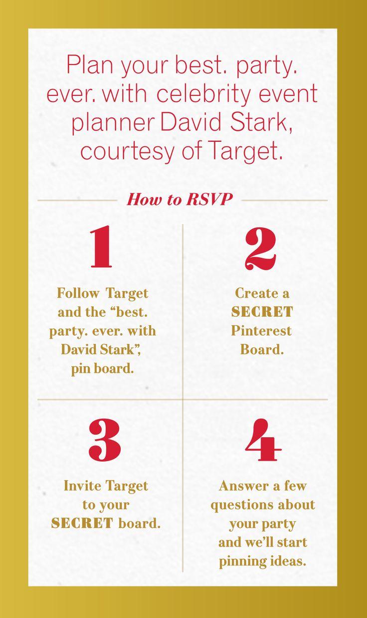 How to Create a Secret Board: https://en.help.pinterest.com/entries/22277603-Secret-boards-basics#add  Follow Target: http://www.pinterest.com/target/  How to invite collaborators to a board: https://en.help.pinterest.com/entries/22997543-Invite-people-to-a-group-board#invite