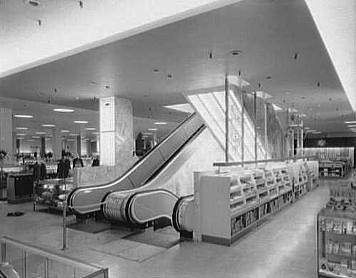 The escalators at Gimbels in Yonkers, New York, in 1955. (Via the Gottscho-Schleisner Collection at the Library of Congress)