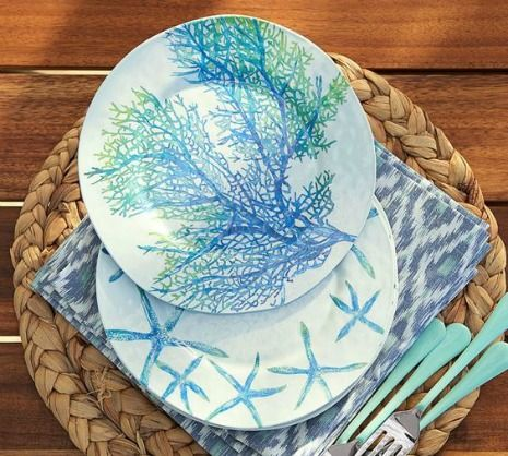 Blue coral and starfish plates: http://www.completely-coastal.com/2014/04/coastal-nautical-melamine-plates-outdoor-entertaining.html Made from melamine, these coastal plates are perfect for outdoor entertaining, pool parties and to take to the beach for a picnic!