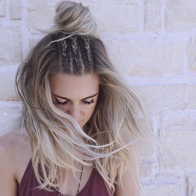 triple braided half up bun