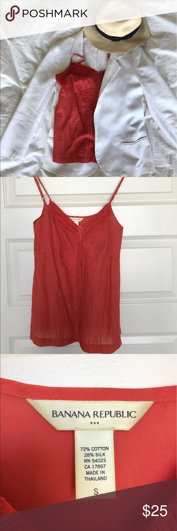 Banana Republic Sheer Blouse Orange Banana Republic button-up Sheer blouse with adjustable straps. In great condition with only very slight wear on the straps. Very versatile! Wear over a camisole with jeans and a white blazer with sun hat for the complete look. Bundle and get all pieces on my page for 10% off!!! Banana Republic Tops Blouses