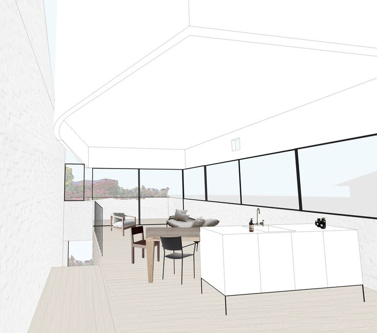 #BennAndPenna #SchibrowskiHouse #Interior #White #Minimal #Windows #Horizontal #Living #Dining #Kitchen