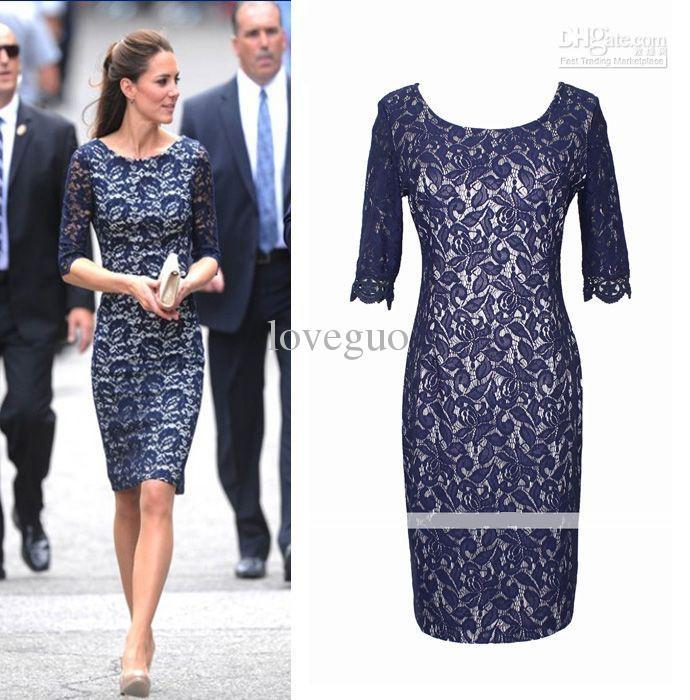 Navy, knee-length, 3/4 sleeve, lace, sheath dress, $47 ...