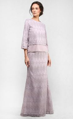 The Full Lace Kedah Kurung in Light Taupe