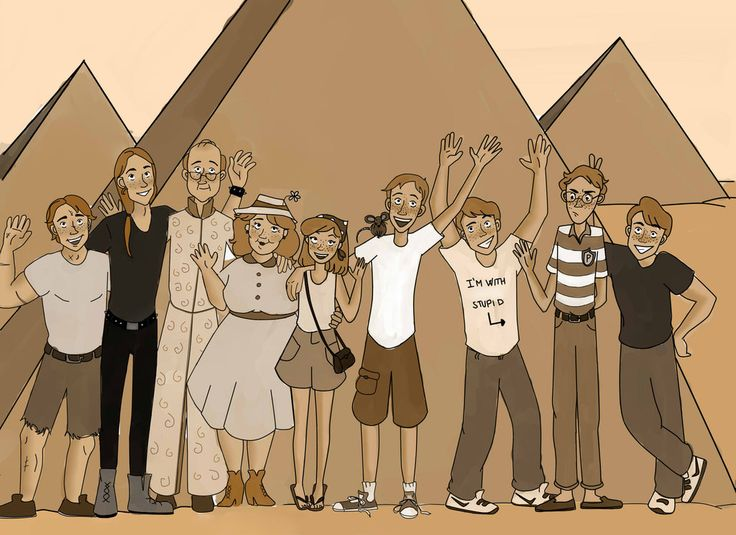 Fred, Percy, George, Ron (Scabbers), Ginny, Molly, Arthur, Bill and Charlie Frava8.deviantart.com