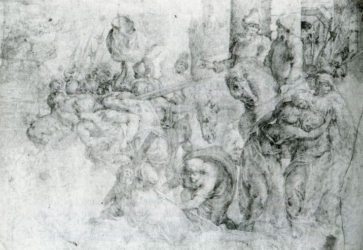 Le Portement de Croix, Toussaint DUBREUIL, Oxford, Christ Church- ECOUEN: LA GRANDE MONTEE AU CALVAIRE, 3:.. il a peut-être fait appel à un flamand pour la réalisation selon une tradition rapportée par son contemporain Karel van Mander: un certain affadissement du dessin, la gracilité des personnages, la douceur de la lumière et l'éclat de la palette pourraient répondre à cette habitude, ainsi que l'aspect nordique du paysage qui laisse apparaître une rigueur de composition plutôt française.