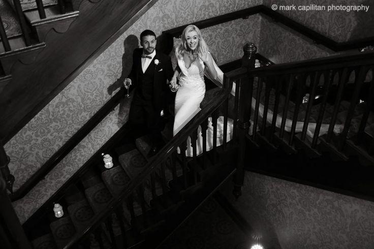 Bride & groom portrait on stairs Kilronan Castle Ireland wedding photographer sligo