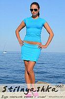 Костюм для тренировок юбка-шорты с футболкой голубой