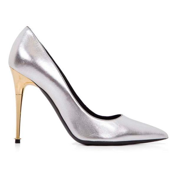 Pre-Owned Tom Ford 37.5 Silver Heels (€395) ❤ liked on Polyvore featuring shoes, pumps, stiletto pumps, silver high heel pumps, high heel shoes, high heel stilettos and high heel pumps