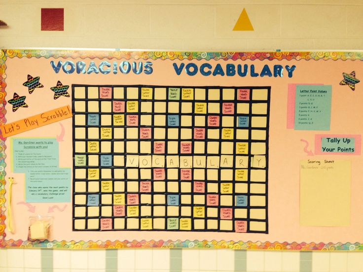 Bulletin board at my school. We bent the rules of scrabble a little.