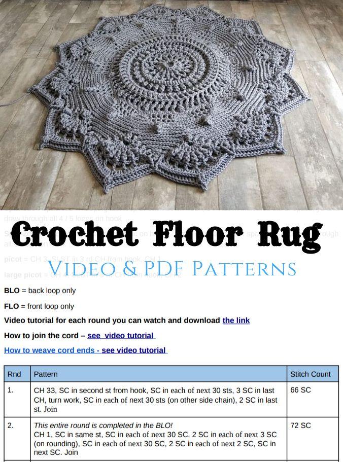 Crochet Floor Rug Video Pdf Tutorials See All Carpet Patterns In 2020 Crochet Rug Patterns Crochet Mandala Pattern Braided Rug Diy