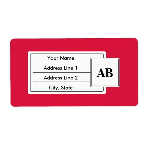 Crimson red solid color with monogram custom shipping labels