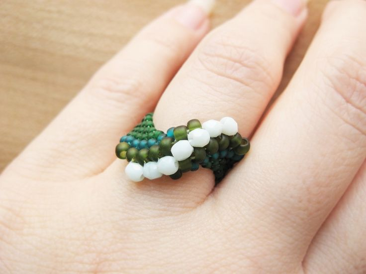 Beads and Crystals Ring - How Did You Make This?   Luxe DIY. Beaded peyote twist ring
