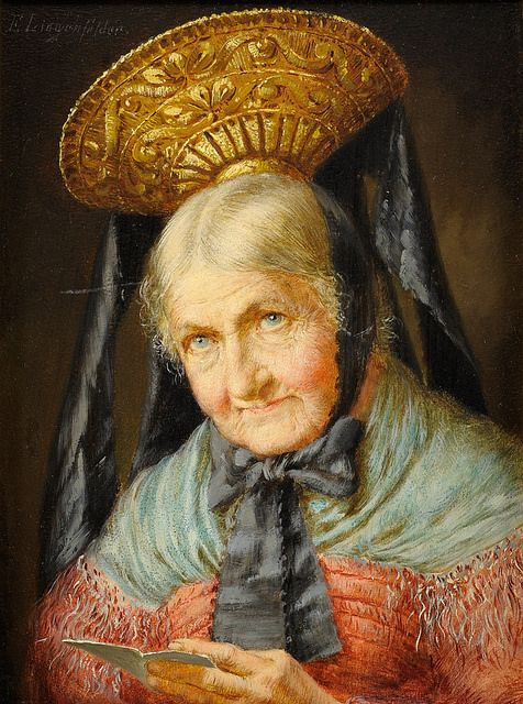 Lingenfelder, Eugen (1862–1930) - Old Woman in Traditional Costume (goldhaube). An expert could tell you what region she's from by the unusual shape of her gold cap. She has one of the most beautifully-painted faces, for a painting that mainly features the regional costume. She looks like a delightful grandma or auntie!