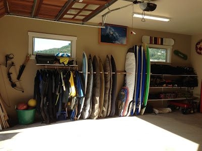 This Is What I Want Our Garage To Look Like Organization By The Ocean Surfboard Storagekayak