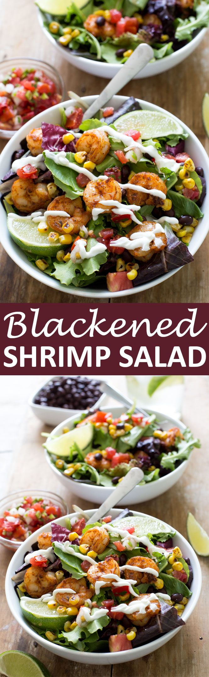 Blackened Shrimp Salad loaded with tons of flavor! Piled high with salsa, corn…