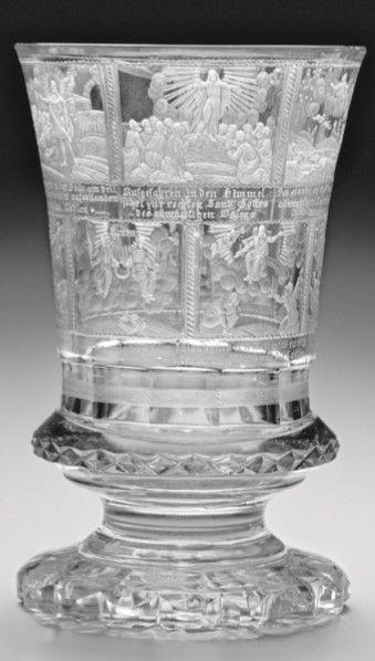 "Číška na nožce ""Vyznání víry"",rytec Anton Simm,Harrachovské sklárny 1835. Sbírka UPM Praha"