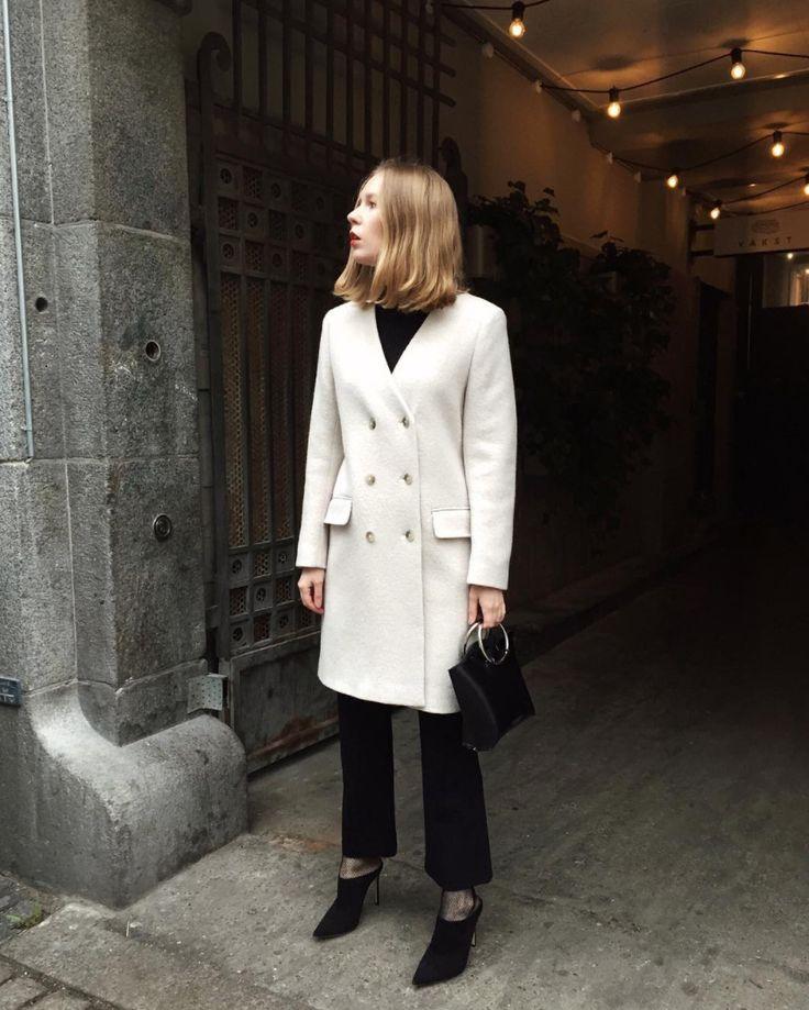 Carolina Engman wearing Filippa K 'Linea Coat'