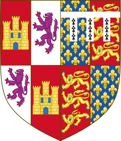 Arms of John of Gaunt, King of Castile - John of Gaunt, 1st Duke of Lancaster - Coat of arms of John of Gaunt asserting his kingship over Castile and León, combining the Castilian castle and lion with lilies of France, the lions of England and his heraldic difference