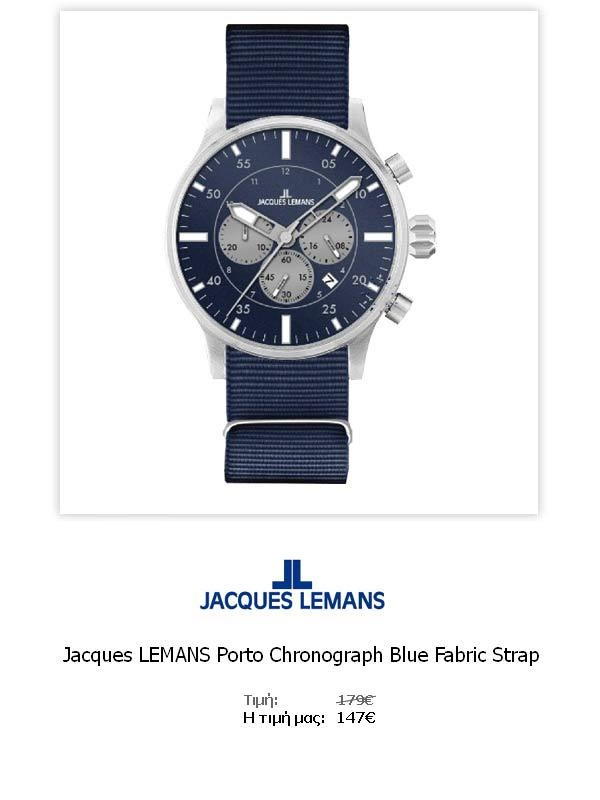 Jacques LEMANS Porto Chronograph Blue Fabric Strap  1-1749B  Όλες οι λεπτομέρειεςτου ρολογιού εδώ   http://www.oroloi.gr/product_info.php?products_id=31776
