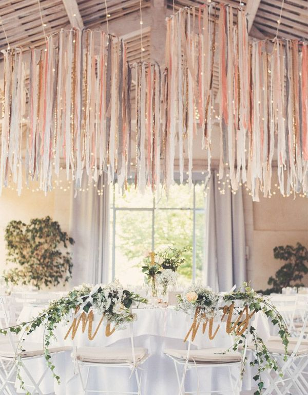 hanging wedding ribbon centrepieces in nude tones - brides of adelaide