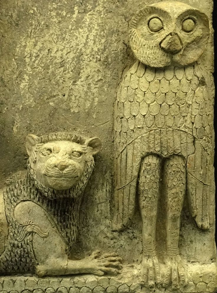 Burney Relief owl and lion.,detail Babylonian relief,1800 BC   British Museum