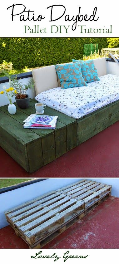 DIY Patio Daybed with Pallets #diy #dan330 http://livedan330.com/2015/06/10/diy-pallet-daybed-for-the-patio/