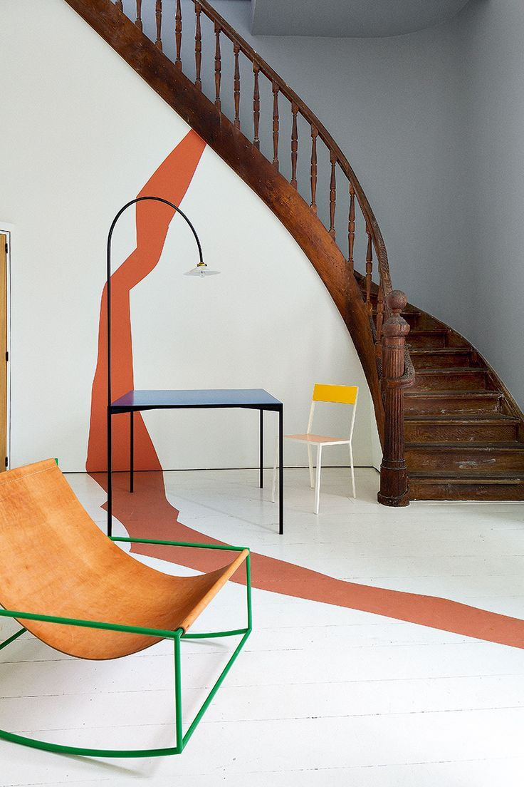 AD Spain On the second floor; installation Cabinet duo Muller van Severen . The stairs lead to the bedrooms of the house. #Entry:
